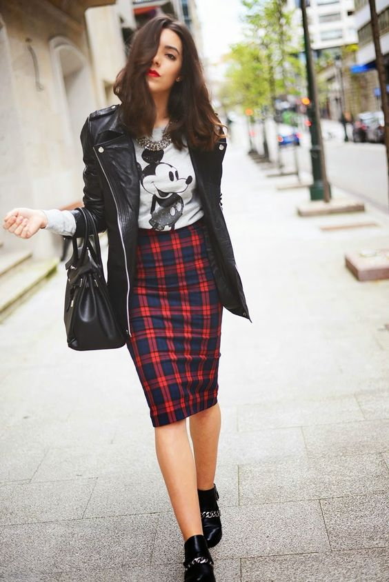 plaid skirt casual
