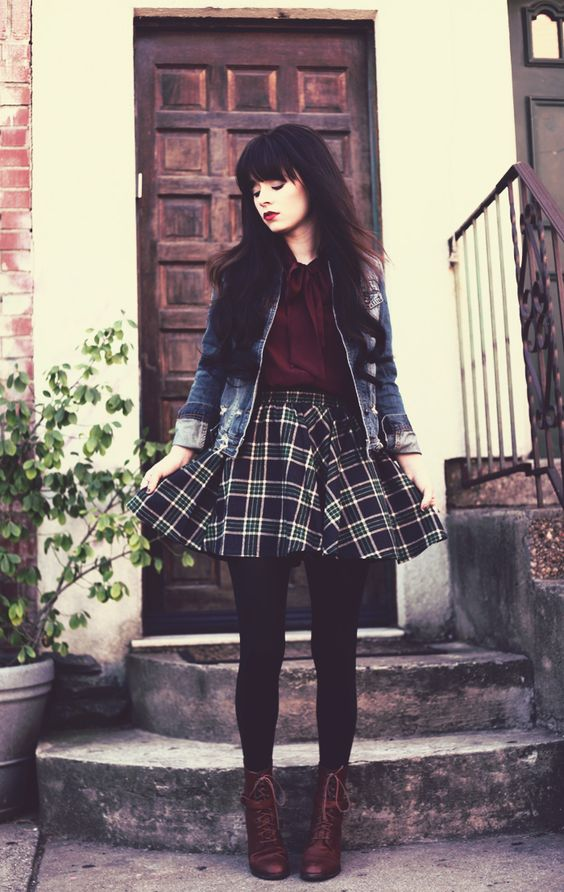 plaid skirt winter