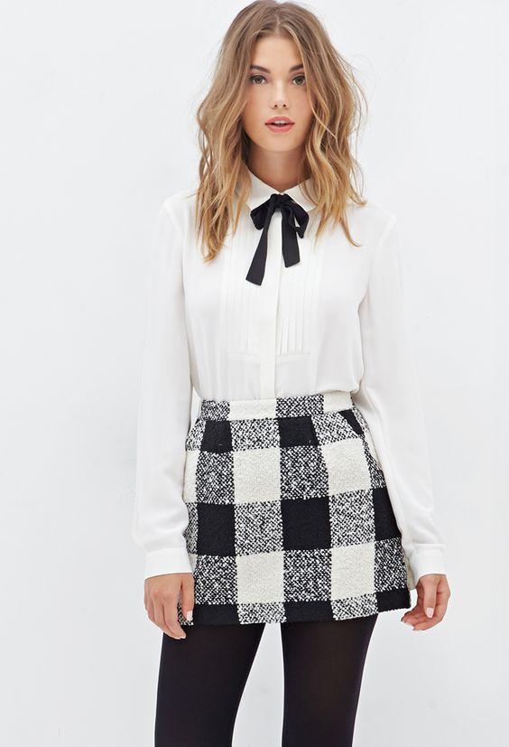 plaid skirt working
