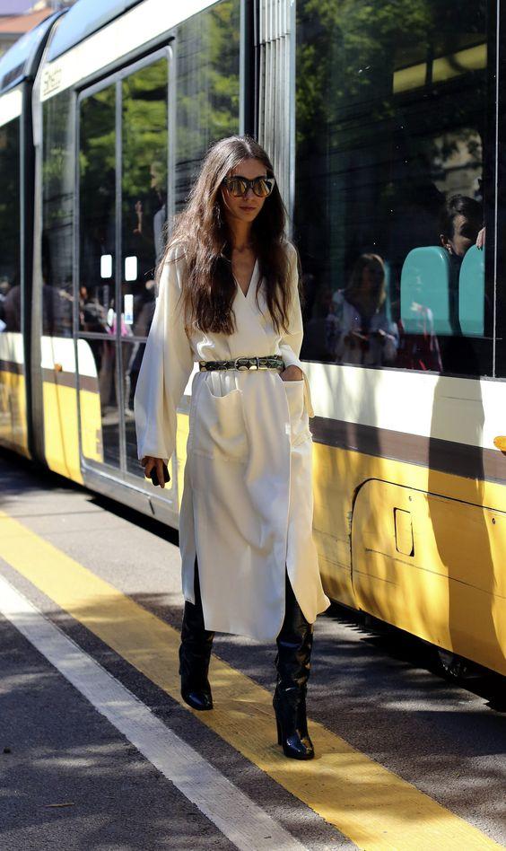 vestido alrgo y botas