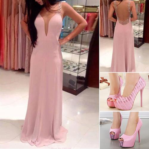 Complementos para un vestido largo rosa palo