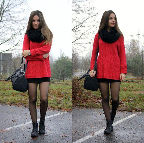 Vestidos con medias finas negras