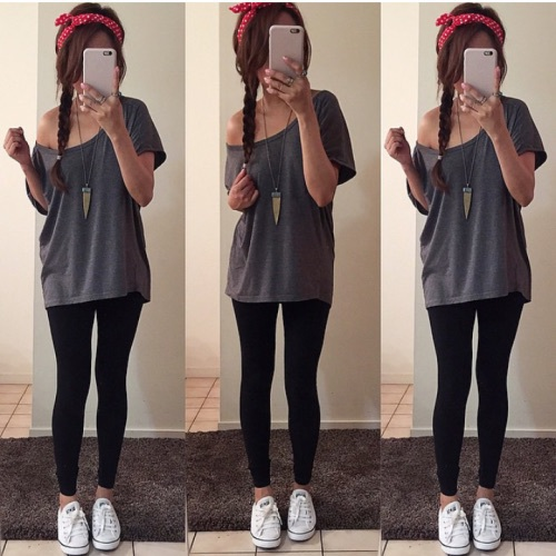leggings y converse
