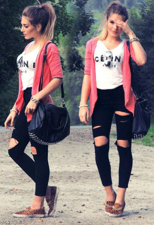 outfit rosa con negro