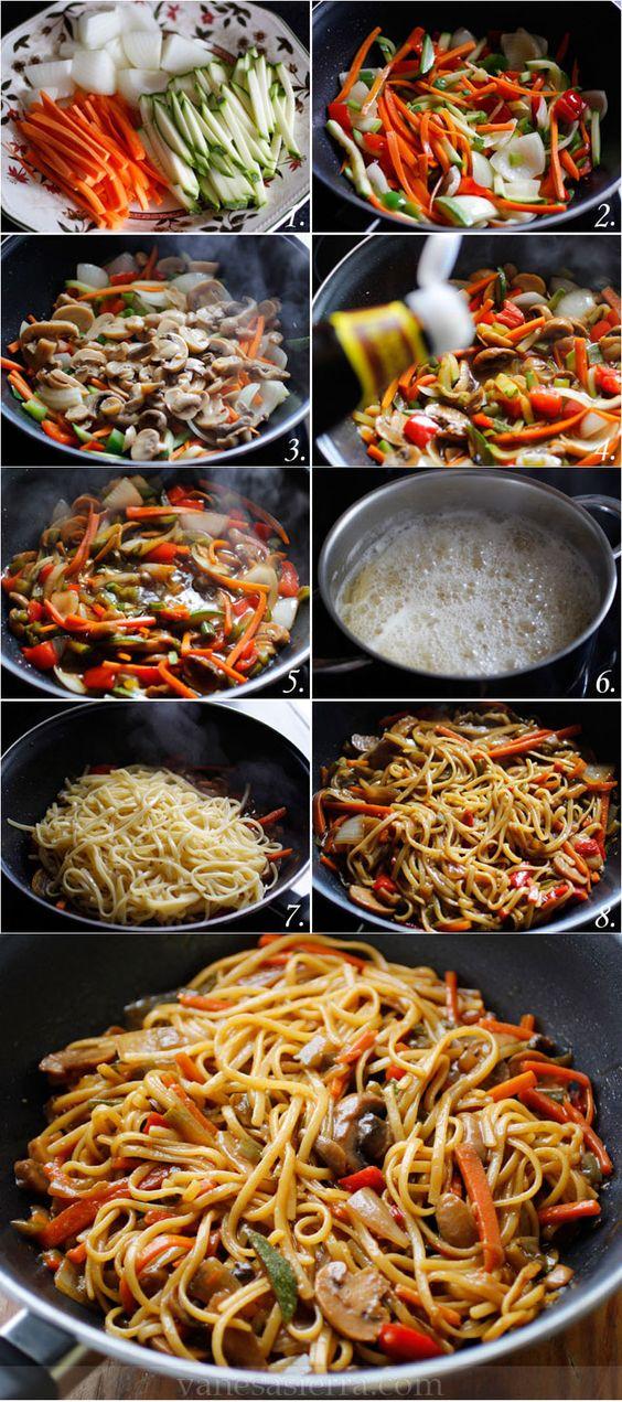 tallarines con verduras