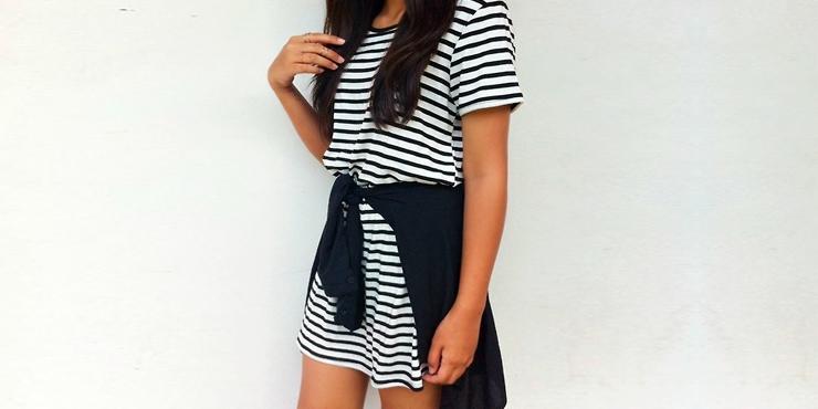 Vestidos cortos de rayas horizontales