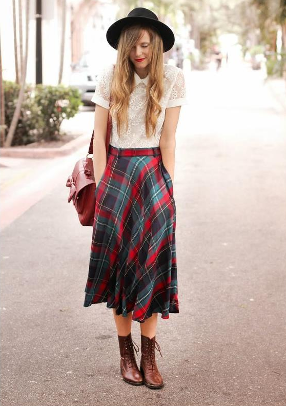 falda cuadros larga