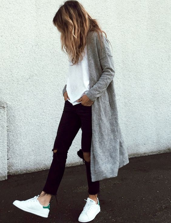 jeans con cardigan