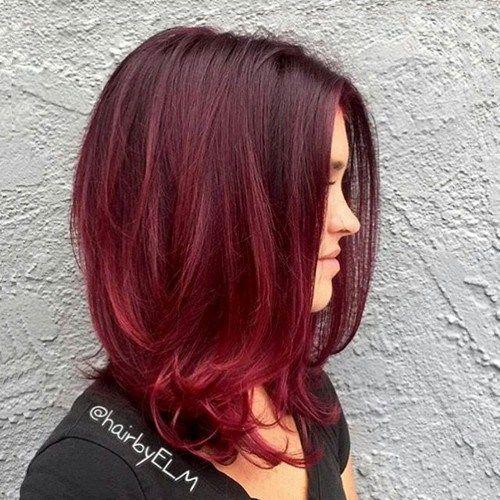 rojo cabello cafe ombre