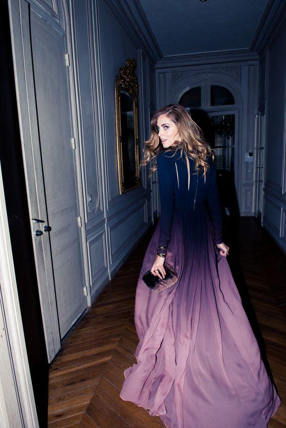 azul a morado vestido
