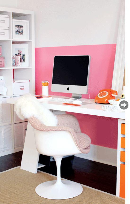 decoracion rosa oficina