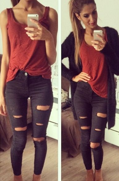 outfit jeans grises