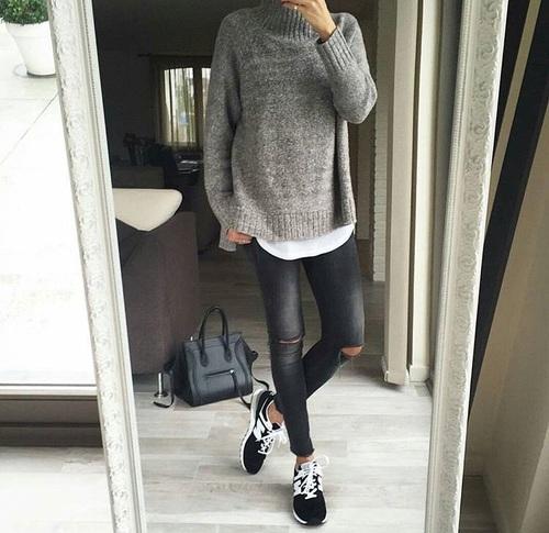 new balance grises con negro