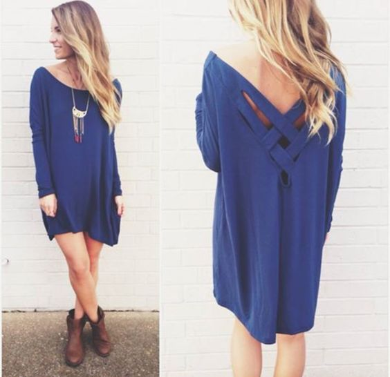 vestido azul lindo