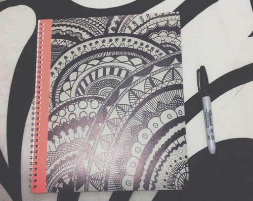 Libreta De Dibujo Mandala Unicornio Papel Blanco: Ideas Para Decorar Tus Cuadernos Usando Plumones
