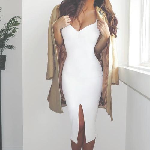 outfit femenino vestido blanco