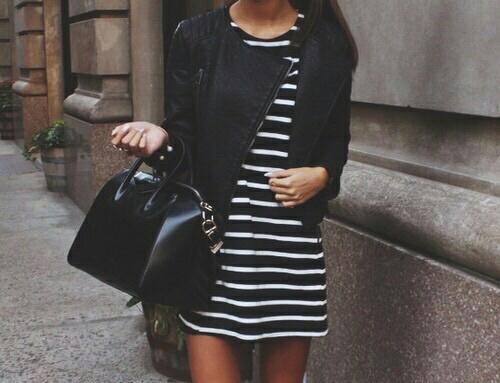 outfit vestido rayas