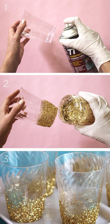 vasos con glitter