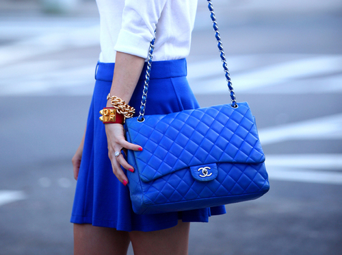 purse blue chanel