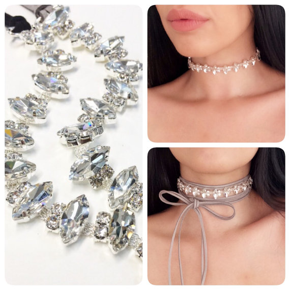 choker diamantjes