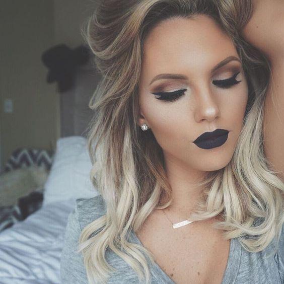 13 maquillajes con labial negro mate 161para renovar tu look