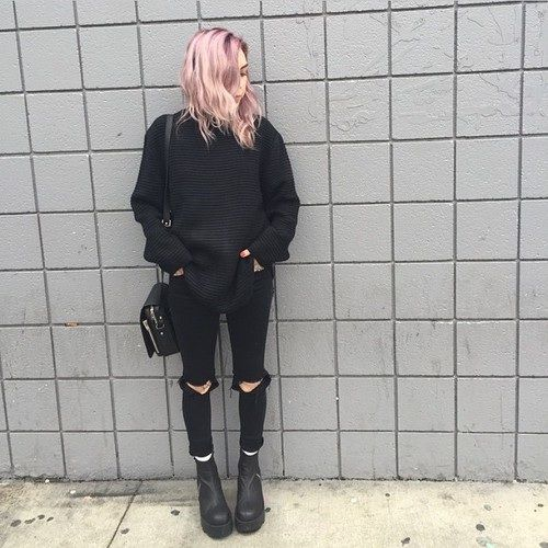 fine black jeans outfit tumblr winter 13