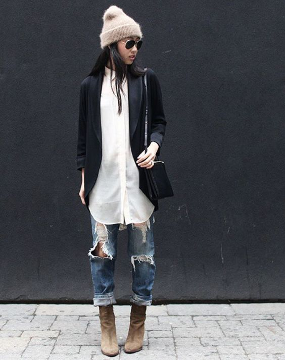 outfits casuales con tacones y jeans para verte m s alta. Black Bedroom Furniture Sets. Home Design Ideas