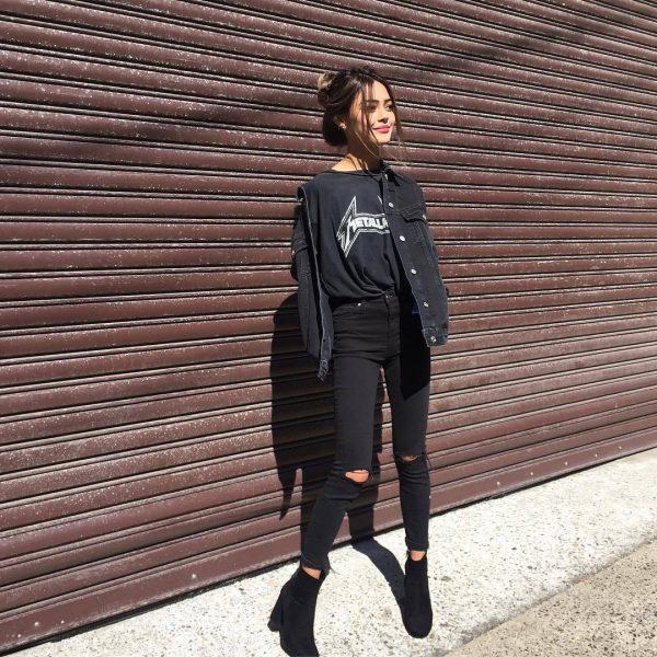 Como combinar una chaqueta de mezclilla negra